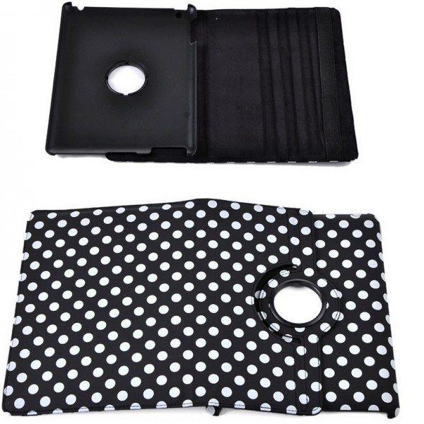 Кожаный чехол-книжка TTX (Polka Dots) (360 градусов) для Apple Ipad 2/3/4 белый в черный горох
