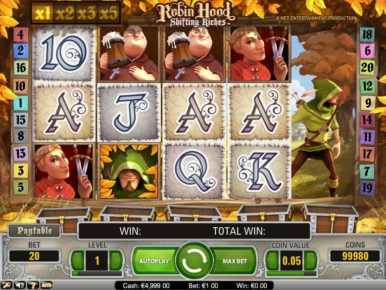 Игровое поле азартную игру Robin hood.