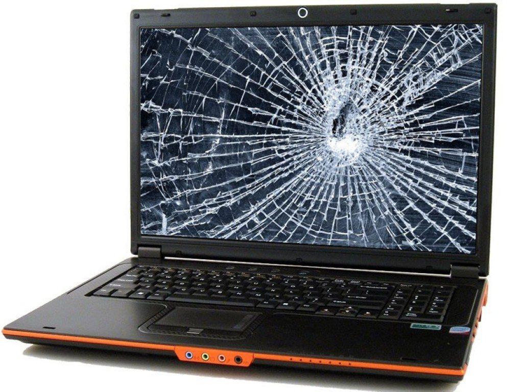 разбитый монитор ноутбука. фото