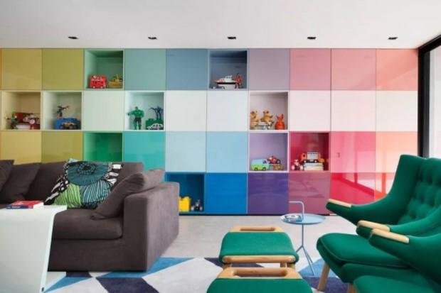 корпусная мебель для гостиной в стиле поп-арт фото