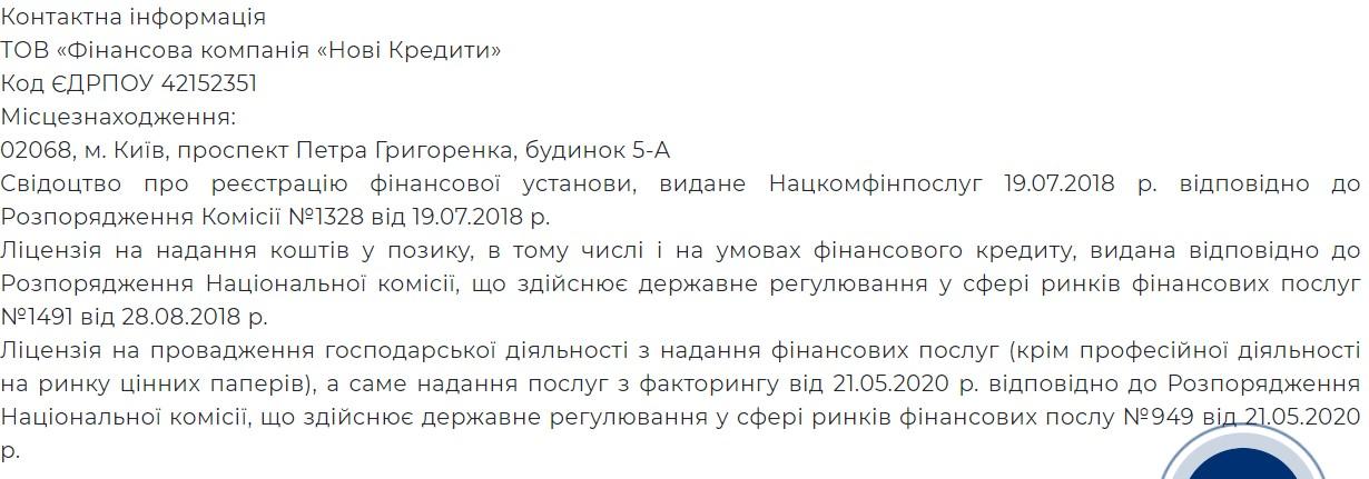 ТОВ «Фінансова компанія «Нові Кредити»
