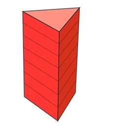Обсяг призми дорівнює добутку її висоти на площу основи.  Формула обсягу правильної трикутної призми: