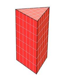 Площа повної поверхні призми дорівнює сумі площі її бічної поверхні і подвоєної площі підстави.  Формула площі поверхні трикутної призми: