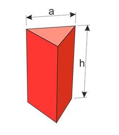 Розміри призмиможна виразити через довжину сторониaі висотуh.